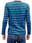 Mens Long Sleeved Top Tee Striped (Navy Blue & Black)